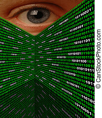 Cyber Stalking Spyware Eye - A large eye peering over walls...