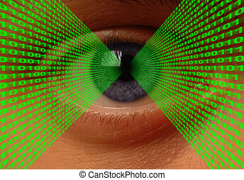 Optical Data Transfer - Binary code flowing into an eye