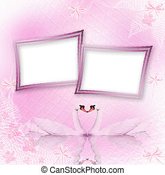 Greeting Card to wedding with swans on the pink background