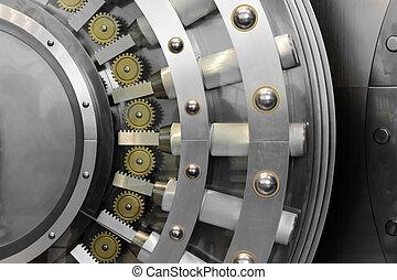 Open safe door - An open safe door in a vault