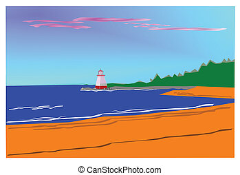 beach with lighthouse - lighthouse on jetty looking out into...