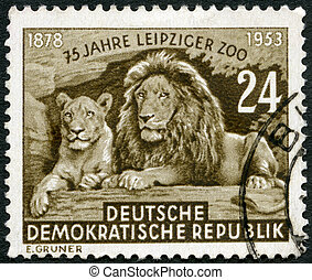 GERMAN DEMOCRATIC REPUBLIC - CIRCA 1953: A stamp printed in...