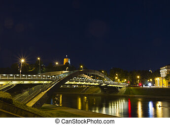 Bridge over the Neris River in Vilnius, Lithuania