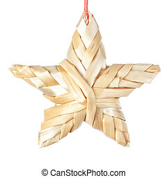 Straw Christmas star. On a white background.