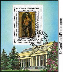 MALAGASY REPUBLIC - CIRCA 1987: A stamp printed in Malagasy (Madagascar) shows Minerva (1560), by Paolo Veronese (1528-1588), series Paintings in the Pushkin Museum, Moscow, circa 1987