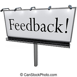 Feedback Word on Billboard Seeking Opinions Comments Input -...