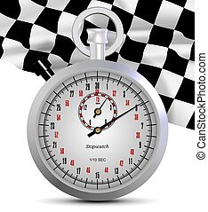 Stopwatch and finish flag