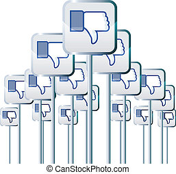 Negative Campaign - Vector illustration of facebook dislike...