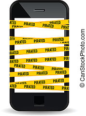 Pirated Smartphone - Vector illustration of a smartphone...