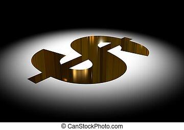 Dollar Pit - 3d render illustration of a gold dollar pit