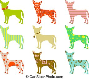 patterned chihuahuas - abstract colourful patterned...