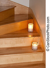 Lanterns decorating wooden staircase - Cozy lanterns with...
