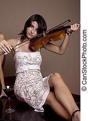 music - girl playing at a stradivarius violin