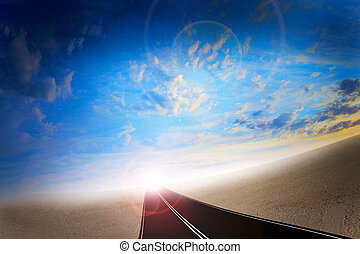 on the road - Abstract scene route on background celestial...