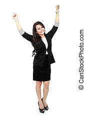 business woman celebrating success with arm raised on white...