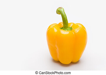 Pepper - Close-up of yellow pepper isolated over white...