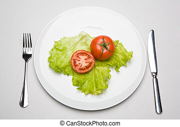 Breakfast - Image of tomatoes with green leaf placed on the...