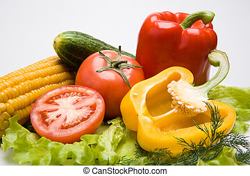 Healthy food - Photo of different vegetables on a white...
