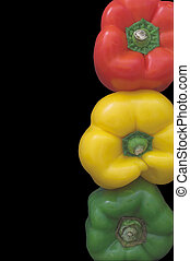 Stoplight Bell Peppers - Several fresh and delicious...