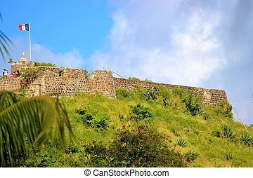 Historic Fort St Louis overlooking Marigot Bay in St Martin...