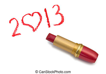 Lipstick and 2013 isolated on white background