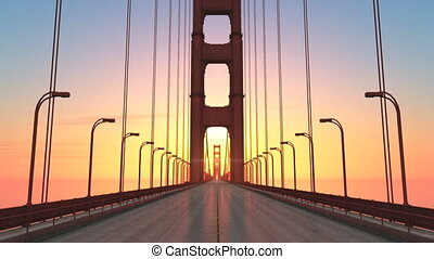 bridge - suspension bridge and sun