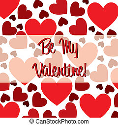 Scatter Heart Card - Be My Valentine red heart scatter card...