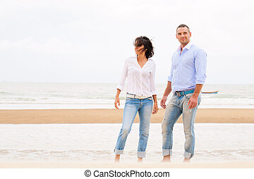 schöne, sommer, Paar, junger, Lächeln, sandstrand