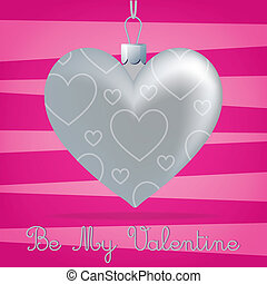 Heart Bauble Card - Bright Be My Valentine card in vector...