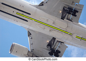 undercarriage close-up of a large jet aircraft