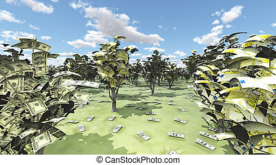 US Currency and Euro Trees