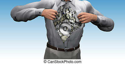 Man opens shirt to reveal gears