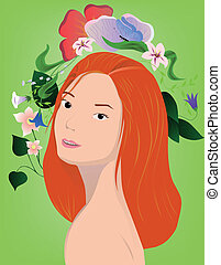 redhair girl with flowers on green - vector illustration of...