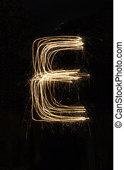 English alphabet E - sparkler firework light alphabet