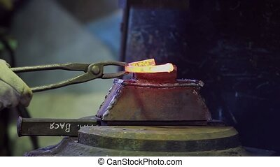 horseshoe - forging horseshoes on forging hammer