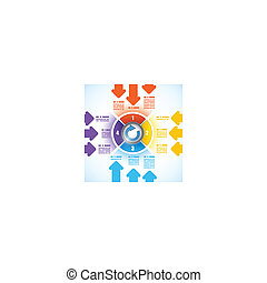 Four parts business diagram template with arrows and a...