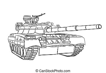 Infantry fighting vehicle engraving sketch Vector...
