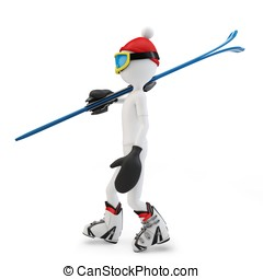 3d man walking to skiing isolated on white