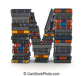 Letter M, stacked from books - Letter M, stacked from many...