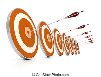 many orange targets in a row plus seven arrows, each arrows hit the center of one target, image over white background,