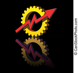 industry report - gear-graph logo on black background - 3d...