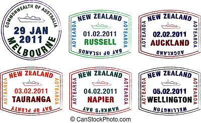 Passport Stamps - Vector stylised passport stamps from...