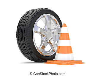 car alloy wheel with road cone, over white background