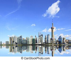 Lujiazui Finance and Trade Zone of Shanghai skyline at New...