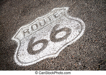 famous sixty six sign on the southwest road, USA,