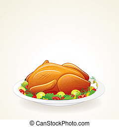 Thanksgiving Turkey Vector - Thanksgiving Turkey with Fruits...