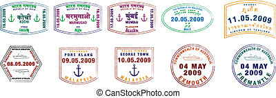 Passport Stamps - A collection of stylised vector passport...