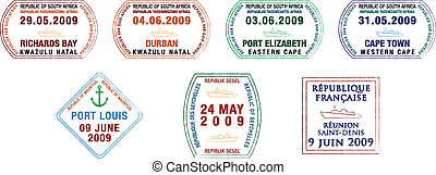 Passport Stamps - A collection of stylised vector African...