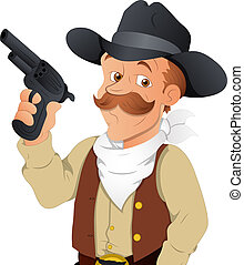 Cowboy Vector Character - Creative Conceptual Design Art of...