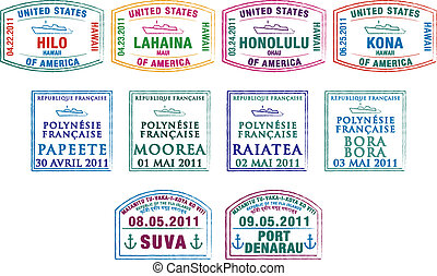 Passport Stamps - Hawaiian, French Polynesian and Fijian...